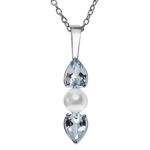 1/2 CT. T.W. Pear-Cut Topaz Prong-Set Necklace in Sterling Silver - Blue - image 1 of 2