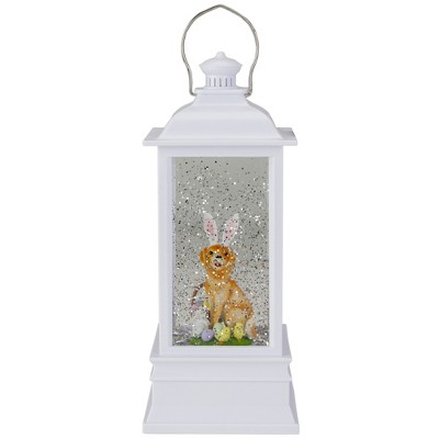 """Raz Imports 9"""" White Dog with Bunny Ears Easter Lighted Glittering Snow Dome Lantern"""