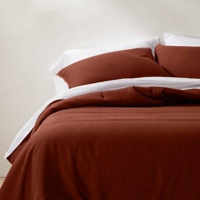 King/California Heavyweight Linen Blend Comforter & Sham Set Dark Clay - Casaluna™