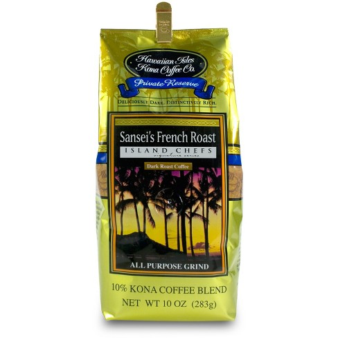 Hawaiian Isles Kona Coffee Sansei's French Roast Medium Roast Ground Coffee - 10oz - image 1 of 1