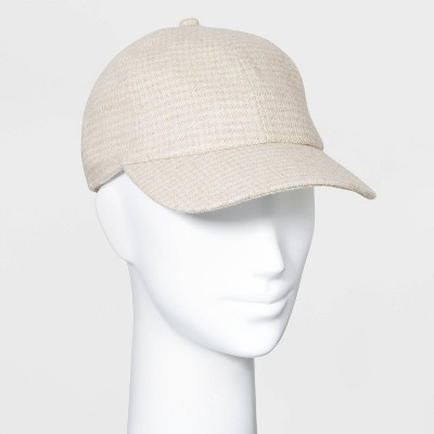 Women's Plaid Felt Baseball Hat - A New Day™ Cream