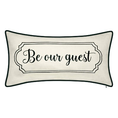 """13""""x25"""" Oversized Celebrations 'Be Our Guest' Embroidered Lumbar Throw Pillow Oyster/Black - Edie@Home"""