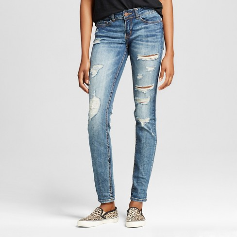 Women's Distressed Skinny Jeans with Rolled Cuff Dark wash 3 - Dollhouse(Juniors') - image 1 of 6