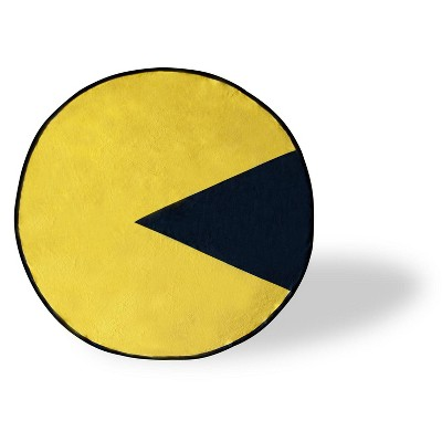 Just Funky Pac-Man Video Game Character Large Round Fleece Throw Blanket | 60-Inch Diameter