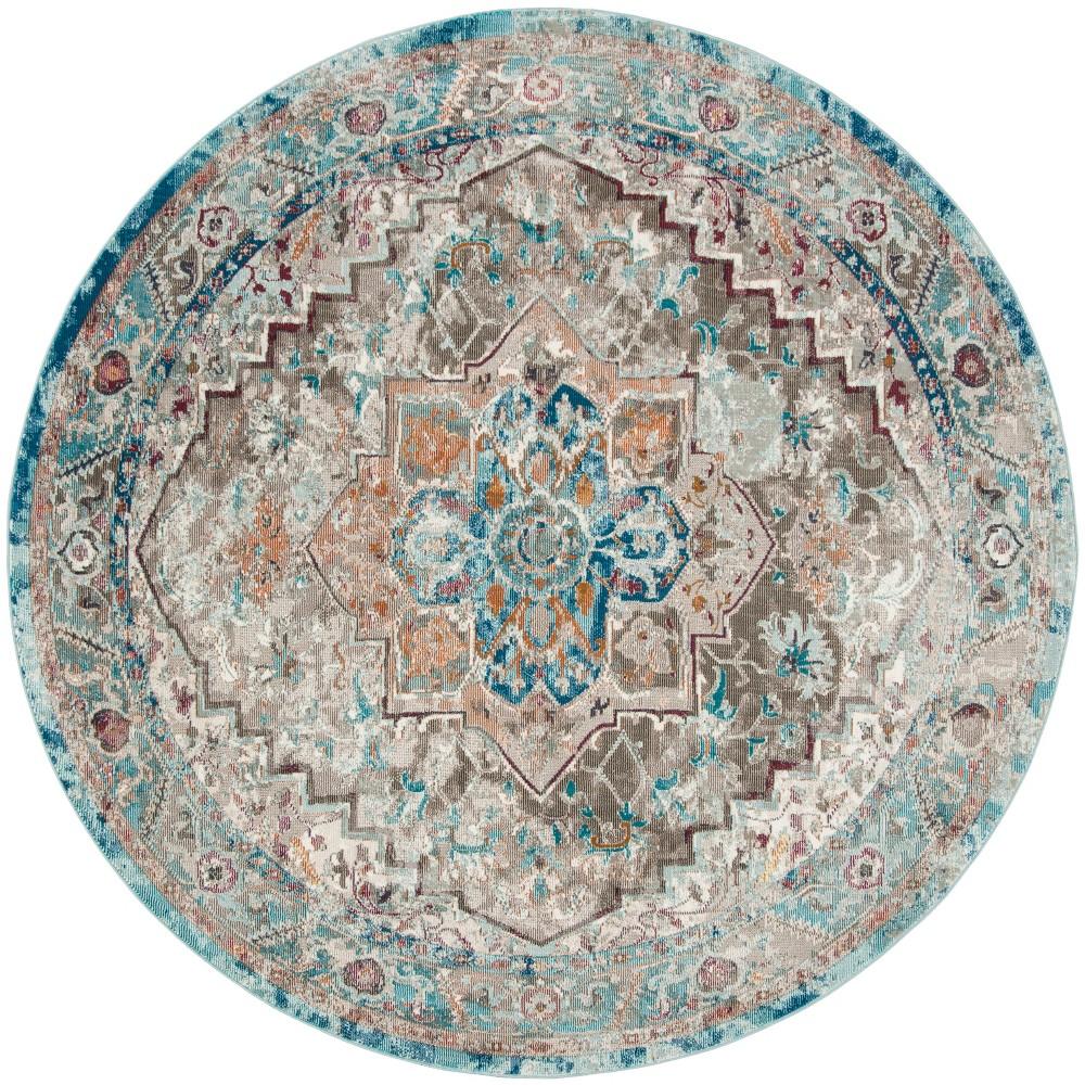 6 5 Medallion Loomed Round Area Rug Beige Blue Safavieh