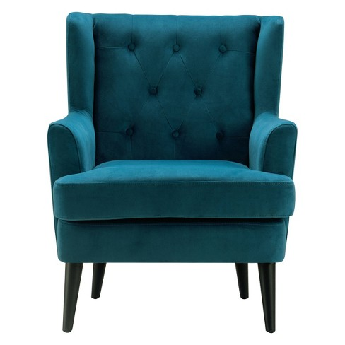 Celeste Tufted Accent Chair Teal Velvet Adore Decor Target