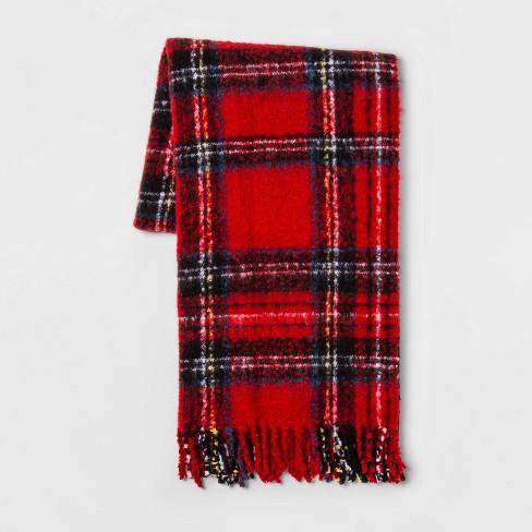 Tartan Plaid Faux Mohair Throw Blanket Red - Threshold™ - image 1 of 1