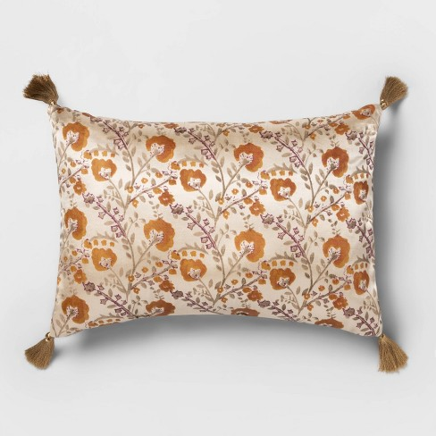 Oblong Vintage Satin Floral Throw Pillow Cream - Opalhouse™ - image 1 of 3
