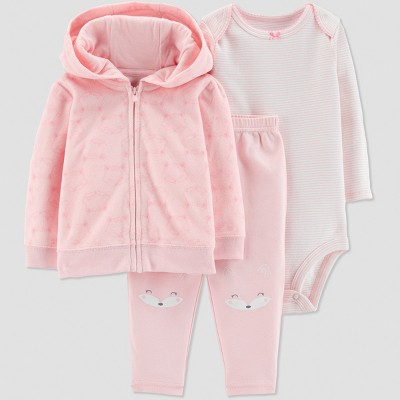 Baby Girls' 3pc Fox Cardigan Set - Just One You® made by carter's Pink 3M