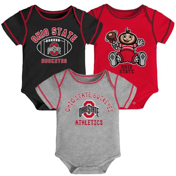 NCAA Ohio State Buckeyes Baby Boys' 3pk Bodysuit Set - image 1 of 4