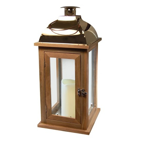 Wooden LED Lantern with Copper Roof and Battery Operated Candle Brown - LumaBase - image 1 of 4