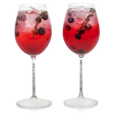 Libbey Glint Silver Stem Wine Glasses 15oz - Set of 2