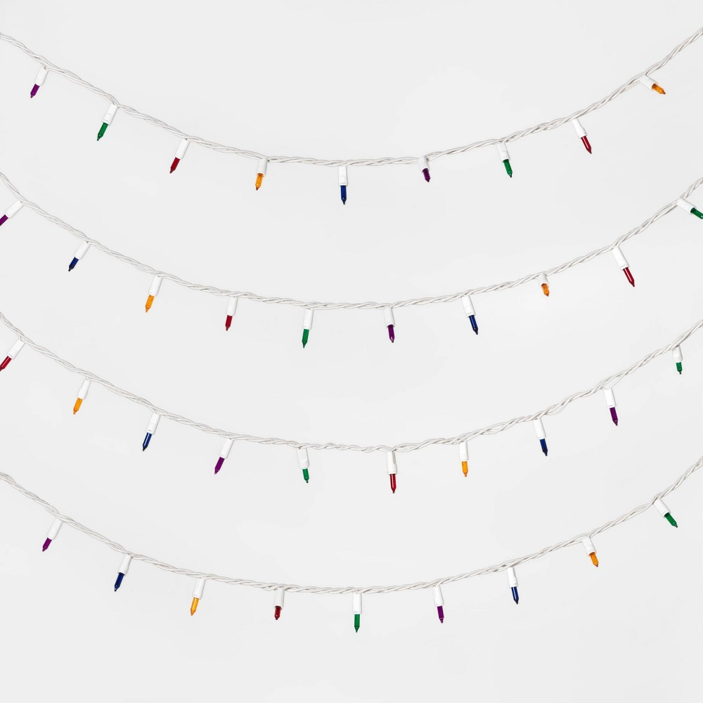 Image of 100ct Incandescent Mini String Lights with White Wire Multicolor - Wondershop