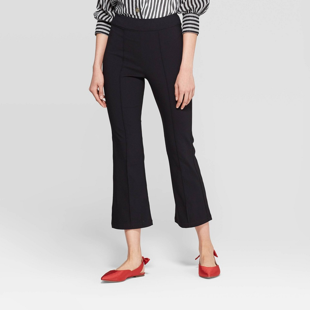 Women's Mid-Rise Pull-On Pintuck Cropped Flare Pants - Who What Wear Black 16