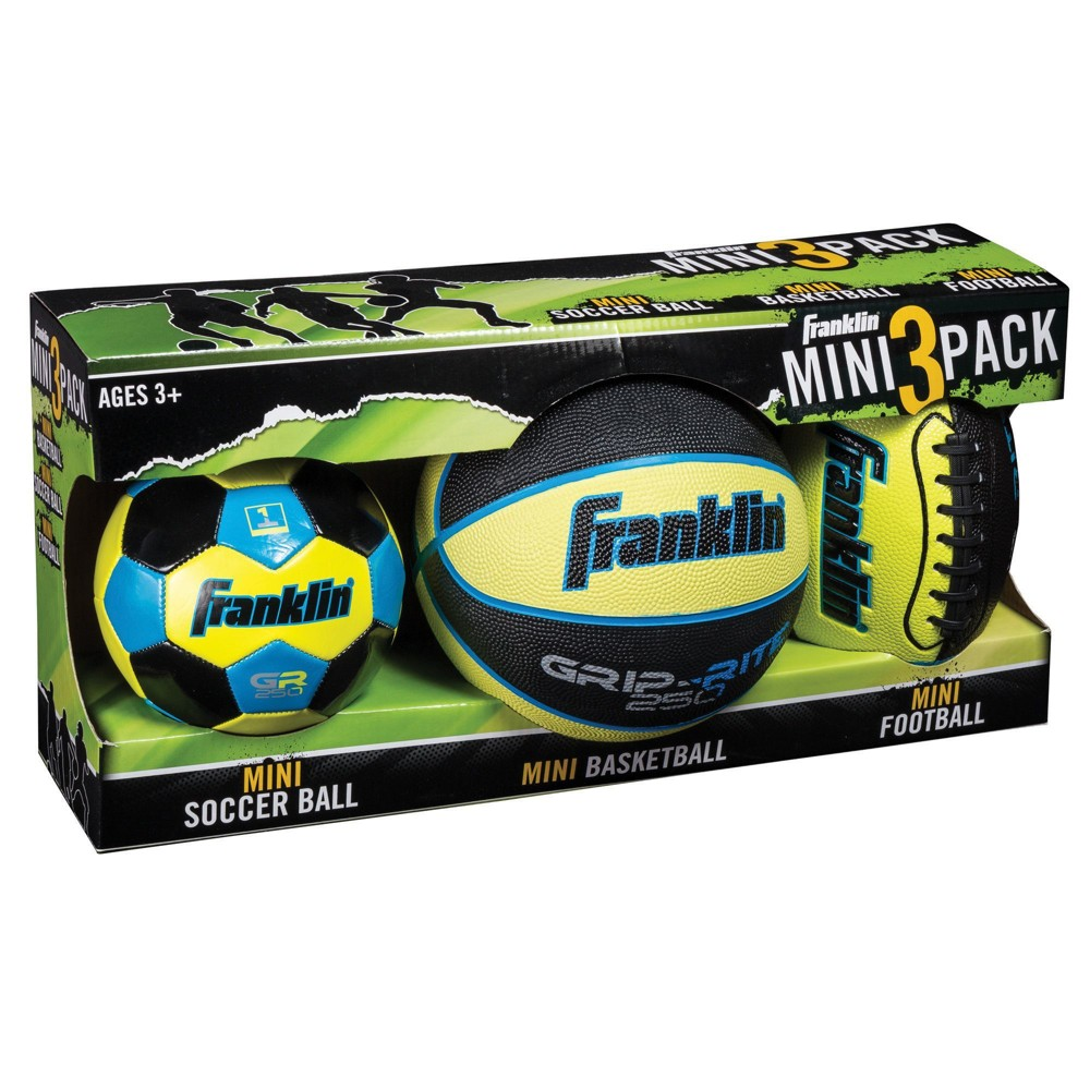 Franklin Sports Mini Soccer Ball/Basket Ball/Football - 3pk - Lime, Green The Franklin Sports Mini Ball three-pack set is perfect for helping young players learn to play their favorite sports. The set includes a 8.5-inch mini stitched football, a seven-inch mini deep channel rubber basketball and a six-inch machine stitched soccer ball. Color: Green.