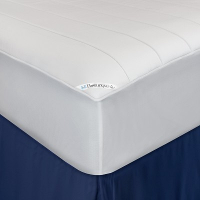 Washable Memory Foam Fitted Mattress Pad White (King)- Sealy Posturepedic