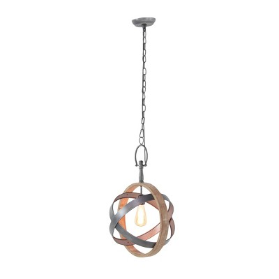 """58"""" x 13"""" Farmhouse Fir Wood and Iron Chained Sphere Pendant - Olivia & May"""