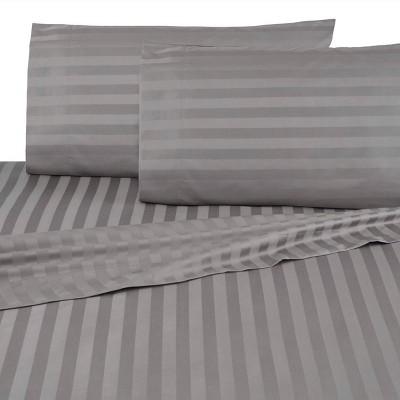 Queen 500 Thread Count Cotton Damask Sheet Set Dark Gray - Martex