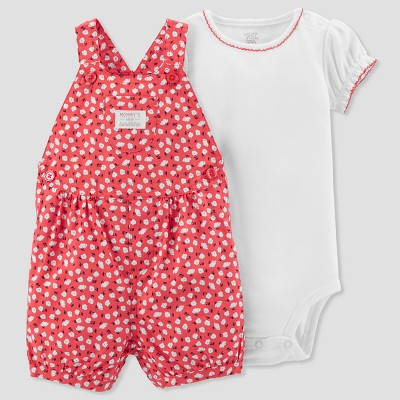 Baby Girls' 2pc Floral Poplin Shortall Set - Just One You® made by carter's White/Pink Newborn