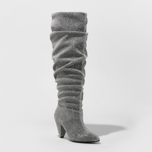 Women's Marley Sparkle Slouch Fashion Boots - A New Day™ Silver - image 1 of 3