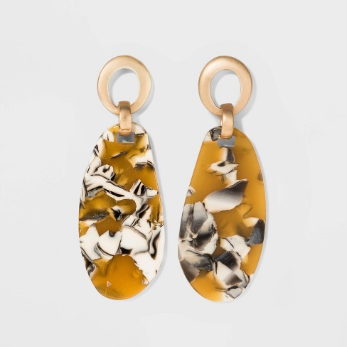 U and Acetate Ring Earrings - A New Day™ Gold - image 1 of 3