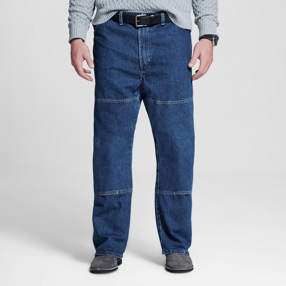 Dickies Men's Big & Tall Relaxed Straight Fit Double Knee Denim 6-Pocket Jeans - Stone Washed 46x30