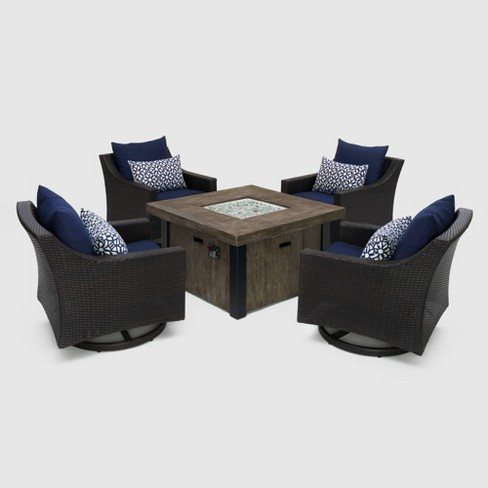 Deco 5pc Motion Fire Seating Set Navy Blue - RST Brands - image 1 of 4