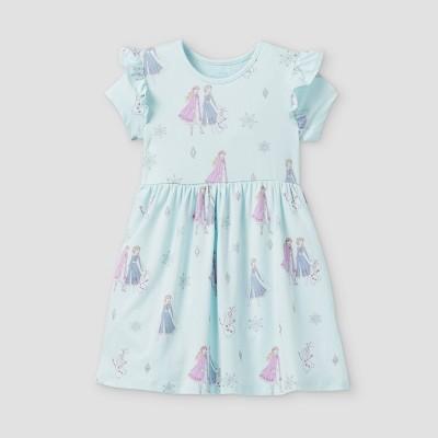 Toddler Girls' Disney Frozen Short Sleeve Jersey Knit Dress - Light Pink