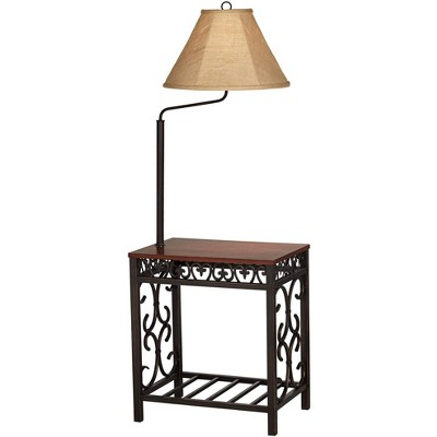Regency Hill Traditional Floor Lamp End Table Swing Arm Wood Bronze Burlap Fabric Empire Shade for Living Room Reading Bedroom
