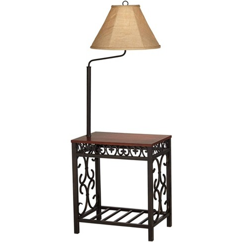 Regency Hill Traditional Floor Lamp End Table Swing Arm Wood Bronze Burlap Fabric Empire Shade for Living Room Reading Bedroom - image 1 of 4