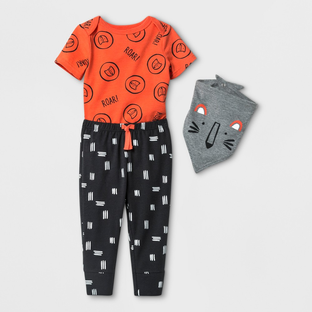 Baby Boys' 3pc Bodysuit, Bib, and Joggers Set - Cat & Jack Orange 0-3M