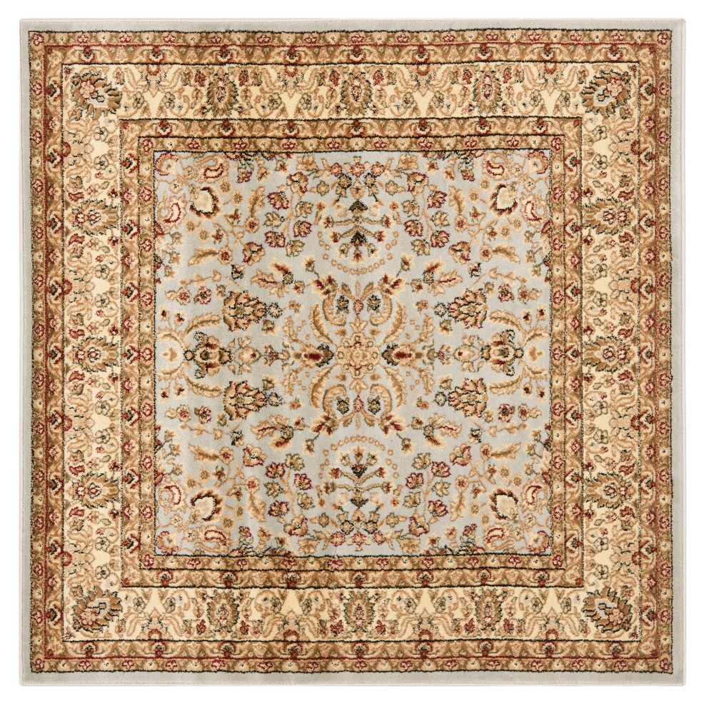 Gray Floral Loomed Square Area Rug 7x7 Safavieh Graybeige