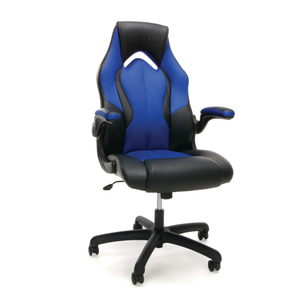 Adjustable Mesh/Leather Gaming/Office Chair with Wheels Blue/Black - Ofm