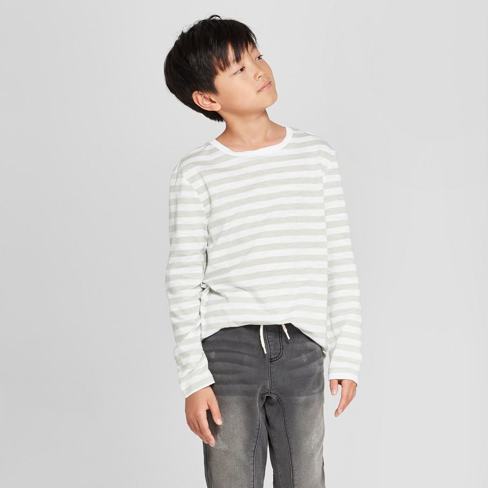 Boys' Long Sleeve Stripe T-Shirt - art class White/Green M