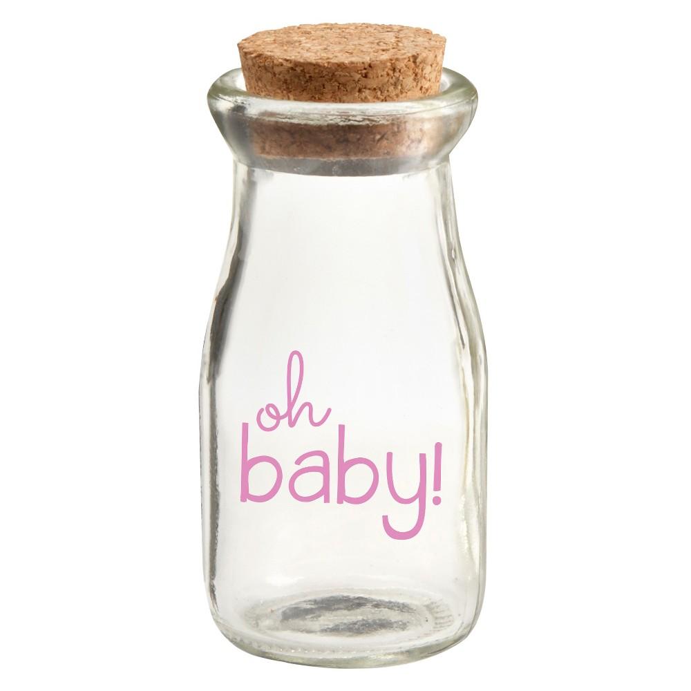12ct Oh Baby Vintage Milk Favor Jar - Pink, Clear