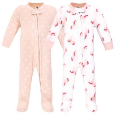 Hudson Baby Infant Girl Fleece Zipper Sleep and Play 2pk, Pink Unicorn