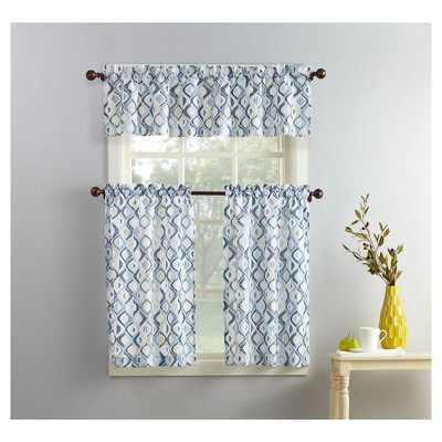 Barker Geometric Print Microfiber 3-Piece Kitchen Curtain Valance and Tiers Set White 54 x36  - No. 918