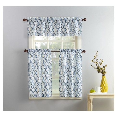 Barker Geometric Print Microfiber 3-Piece Kitchen Curtain Valance and Tiers  Set White 54\