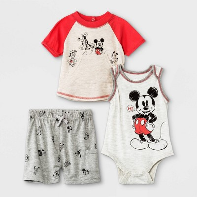 Baby Boys' 3pk Mickey Mouse Short Sleeve Top and Bottom Set - Gray