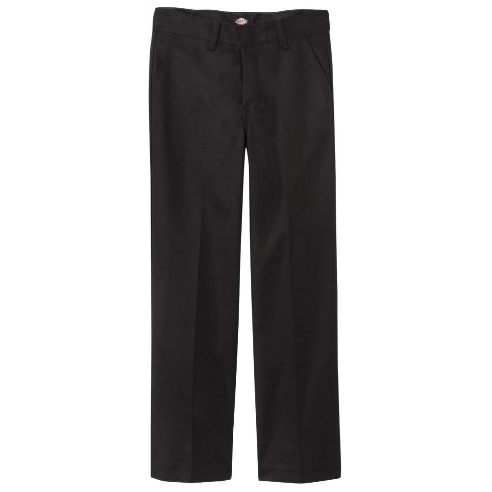 Dickies Boys' Classic Fit Flat Front Uniform Chino Pants - Black 12 Husky