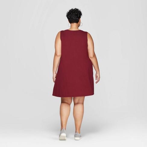 371d1ece345e Women's Plus Size Sleeveless Scoop Neck Knit Swing Dress - Ava & Viv ...