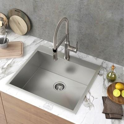 Kraus Pax Zero Radius 25 Inch Single Bowl Stainless Steel Drop In Kitchen  Sink : Target