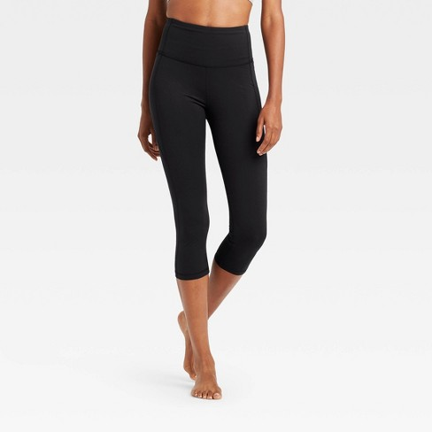 "Women's Contour Power Waist High-Waisted Capri Leggings with Pocket 20"" - All in Motion™ Black - image 1 of 4"