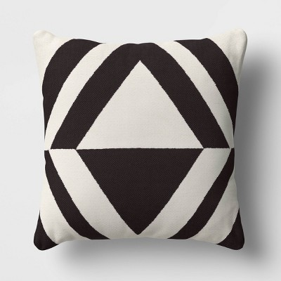 Chenille Diamond Patterned Square Throw Pillow Black/Cream - Project 62™