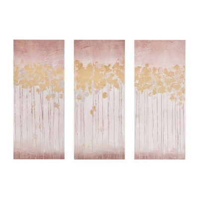 "(Set of 3)15"" x 35"" Twilight Forest Gel Coated Art Canvas with Gold Foil Blush"