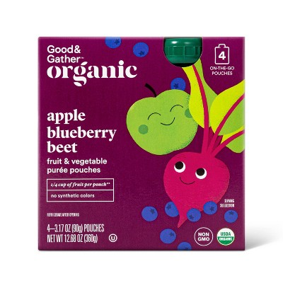 Organic Blueberry and Beet Fruit and Vegetable Fruit Squeezers - 4ct - Good & Gather™