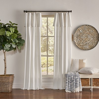 """84""""x50"""" Drop Cloth Light Filtering Curtain Panel Off White - Mercantile"""