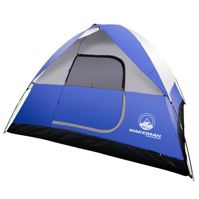 Wakeman 6-Person Tent Water Resistant Dome Tent For Camping With Removable Rain Fly and Carry Bag - Blue