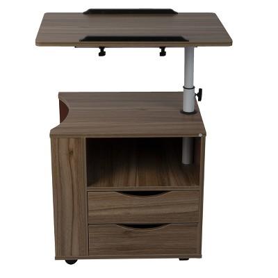 Mind Reader Bedside Workstation Adjustable Desk Nightstand, Wood Finish