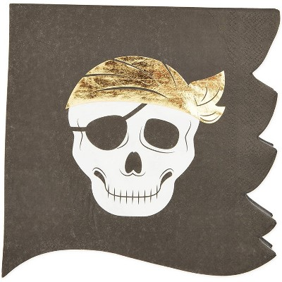 Sparkle and Bash 50 Pack Disposable Paper Napkins, Pirate Skull Jolly Roger Baby Shower Birthday Party Supplies